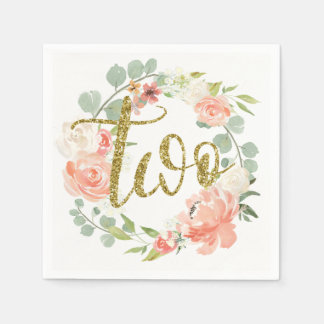 2nd Birthday Pink Gold Floral Wreath Napkin Paper Napkin
