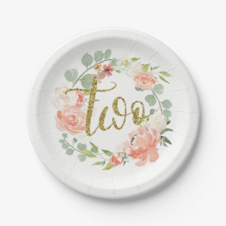 2nd Birthday Pink Gold Floral Wreath Paper Plate 7 Inch Paper Plate