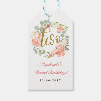 2nd Birthday Pink Gold Floral Wreath Tags