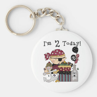 2nd  Birthday Pirate Tshirts and Gifts Basic Round Button Key Ring