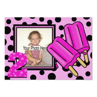 2nd Birthday/ Popsicle photo 13 Cm X 18 Cm Invitation Card