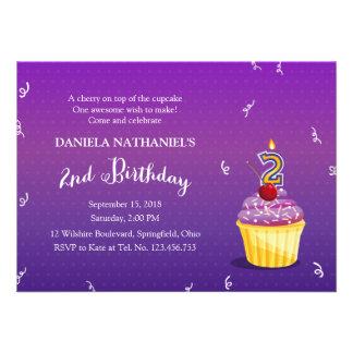 2nd Birthday Purple Cupcake Custom Invites