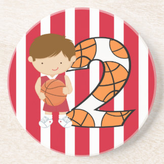 2nd Birthday Red and White Basketball Player Sandstone Coaster