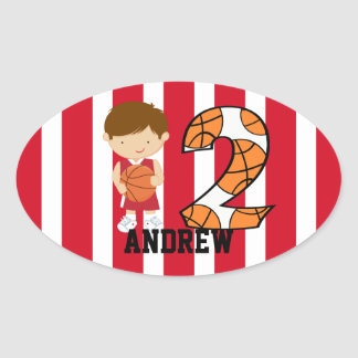 2nd Birthday Red and White Basketball Player Oval Sticker