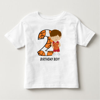 2nd Birthday Red and White Basketball Player Toddler T-Shirt