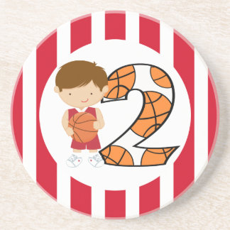 2nd Birthday Red and White Basketball Player v2 Beverage Coaster
