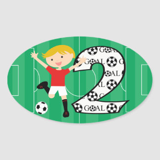 2nd Birthday Red and White Soccer Goal Oval Sticker