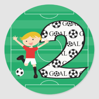2nd Birthday Red and White Soccer Goal Stickers