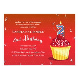 2nd Birthday Red Cupcake 11 Cm X 16 Cm Invitation Card