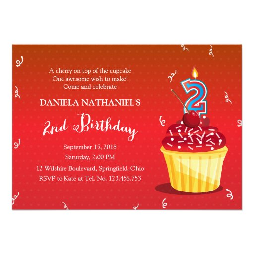 2nd Birthday Red Cupcake Personalized Invitations