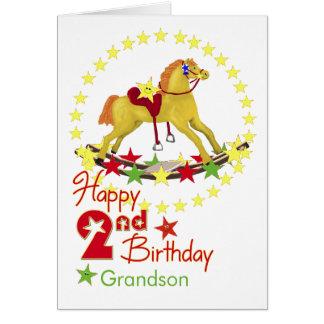 2nd Birthday Rocking Horse Stars Greeting Card