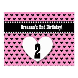 2nd Birthday Save Date Birthday A4 Black Heart Postcard