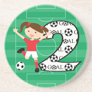 2nd Birthday Soccer Girl Red and White Coaster