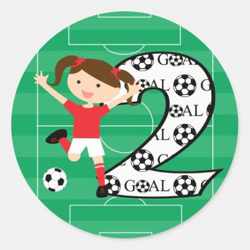 2nd Birthday Soccer Girl Red And White Round Sticker