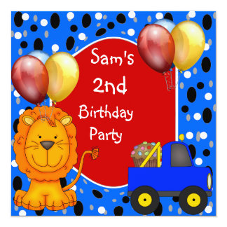 """2nd Birthday Spots Lion Truck Cupcake Balloons 5.25"""" Square Invitation Card"""