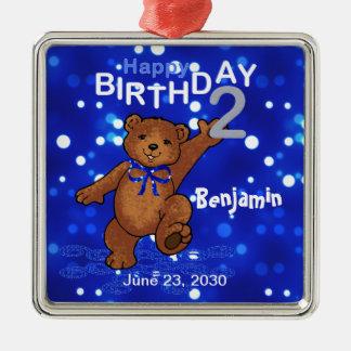 2nd Birthday Teddy Bear Keepsake Metal Ornament