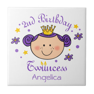 2nd Birthday Twincess Tile