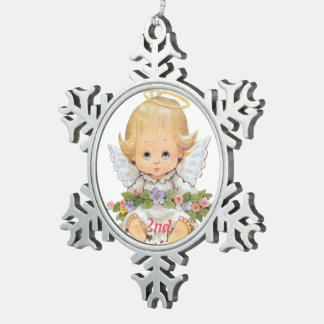 2nd Christmas Sweet Baby Snowflake Pewter Christmas Ornament