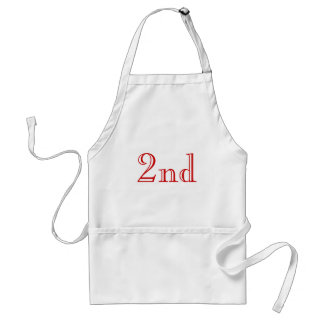 2nd. Custom Text. Red and White. Standard Apron
