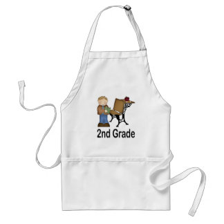 2nd Grade Boy and Desk Adult Apron