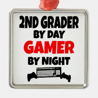 2nd Grader by Day Gamer by Night Metal Ornament