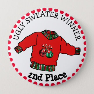 2nd Place Ugly Sweater Winner Christmas Gold Medal 10 Cm Round Badge