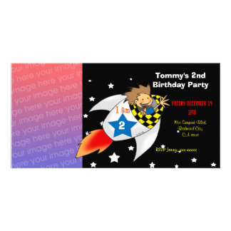 2nd rocket birthday boy party invitations personalized photo card