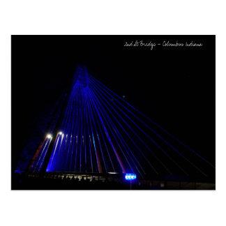 2nd Street Bridge lite in blue - Columbus Indiana Postcard