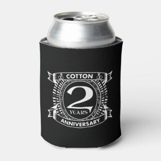 2nd wedding anniversary distressed crest can cooler