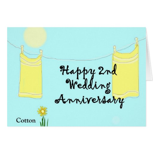 2nd wedding anniversary greeting card click for details second cotton ...