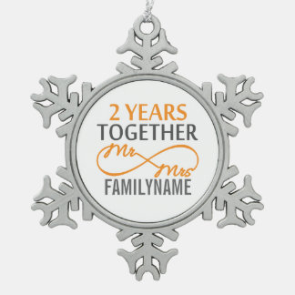 2nd Year Anniversary Infinity Gift Mr and Mrs Pewter Snowflake Decoration