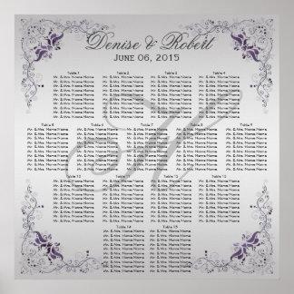 #2Ornate Purple Silver Floral Swirls Seating Chart