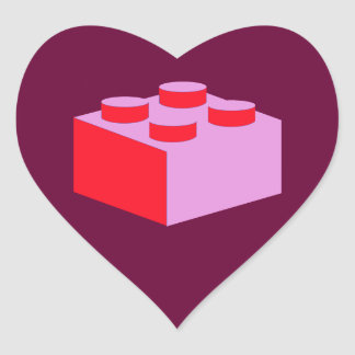2x2 Brick by Customize My Minifig Heart Sticker