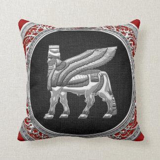 [300] Babylonian Winged Bull [Silver] [3D] Cushion