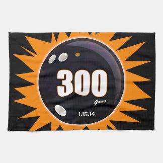 300 Game Orange & Black Tea Towel