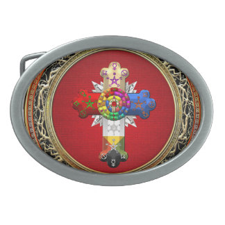 [300] Rosy Cross (Rose Croix) on Red & Gold Belt Buckle