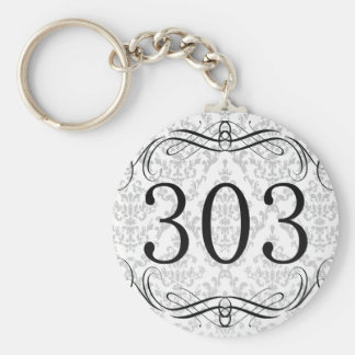 303 Area Code Basic Round Button Key Ring