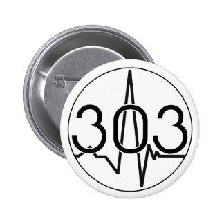 303 waveform 6 cm round badge