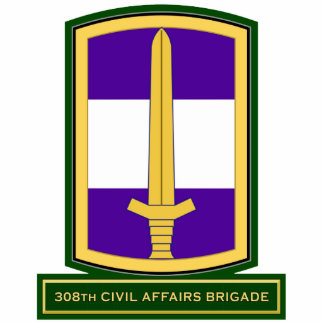 308th Civil Affairs Brigade SSI Standing Photo Sculpture