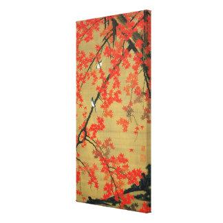 30 紅葉小禽図 若冲 Maple Small Birds Jakuchū Gallery Wrapped Canvas