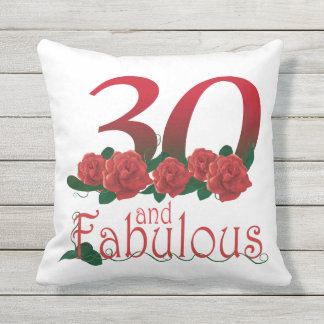 30 and fabulous 30th birthday red roses Pillow