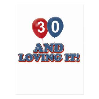 30 and loving it postcard