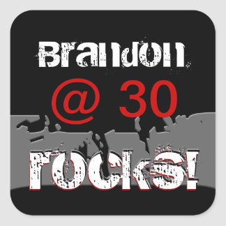 30 Birthday Custom Name Grunge Red and Black Square Sticker