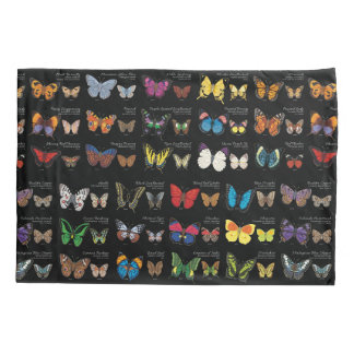 30 Butterfly Species from Around the World (Dark) Pillowcase