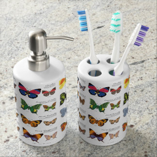30 Butterfly Species from Around the World (Light) Bath Accessory Set