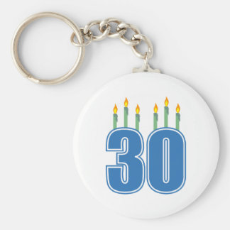 30 Candles (Blue / Green) Basic Round Button Key Ring