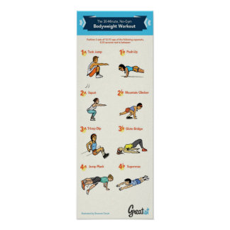 30 Minute No-Gym Bodyweight Workout - Infographic Poster