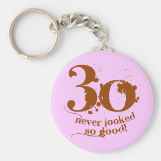 30 Never Looked so Good! Basic Round Button Key Ring