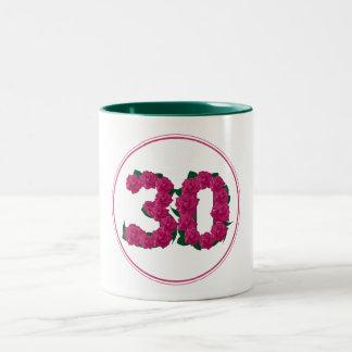 30 Number 30th Birthday Anniversary cute pink mug