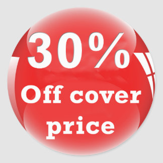 30% Off (Percent) Cover Price Round Glossy Sticker